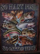 SO MANY FISH LITTLE TIME EMBOSSED METAL DECOR* OOP HTF fishing hook boat bait