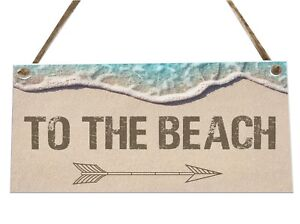 To The Beach Directions Sand Sea Wooden Novelty Plaque Sign Gift fcp13