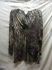 K Jordan Women's Top Blouse Wrap Long Sleeve work  Stretchy Size M