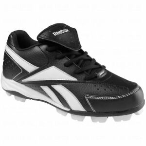 New Reebok Youth 10.5 Prospect Low Mrt Molded Cleats Black/White