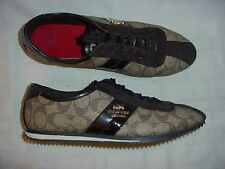 COACH New York Ivy Signature Lace Up Sneakers Brown Size 7 B
