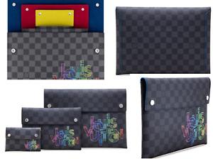 Louis Vuitton Alpha Triple 3 Pouches Clutch Damier Graphite Bag Handbag