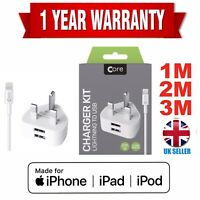 Apple iPhone Charger Cable 1M 3M Charging Lead Lightning USB Cable Fast Charge.