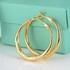 Womens Jewelry 18k Yellow Gold Filled Charms Earrings GF Carved Hoop Hot