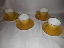 Centura By Corning Yellow Petaled Flowers Set Of 4 Cups With Saucers