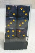 Dice - Chessex 16mm Speckled Twilight w/Yellow Pips - Box of 12 - Night Sky!
