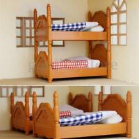 Plastic Bunk Bed Miniature DollHouse Furniture Toy Set Home Bedroom Decoration
