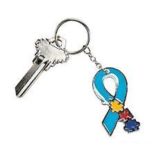 "Autism Puzzle Awareness Ribbon 2"" Metal Key Chain Lot of 2"
