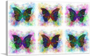 ARTCANVAS Black Dark Butterfly Wings Insect White Canvas Art Print