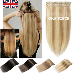 One Piece Thick Clip In 100% Remy Human Hair Extensions 3/4 Full Head Highlight