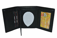 LEATHER BADGE ID HOLDER 'SHIELD' SHAPE TRIFOLD WALLET NEW BLACK VERY RARE WALLET