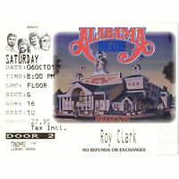 ROY CLARK Concert Ticket Stub MYRTLE BEACH 10/6/01 ALABAMA THEATRE HEE HAW Rare