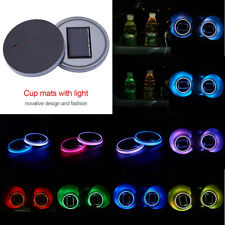 2x Solar Power LED Light Car Water Cup Holder Bottom Mat Pad Colorful Light