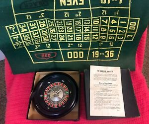 Vintage 1940s game - Game of Roulette by Rottgames, w Bakelite Roulette Wheel