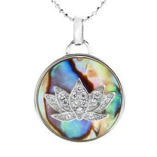 925 Sterling Silver 0.20 Carat CZ Lotus Mother of Pearl Pendant & Necklace