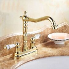 "Gold Brass Deck Mount 4"" Washroom Faucet Vessel Sink Mixer Tap 2 Holes 8nf428"
