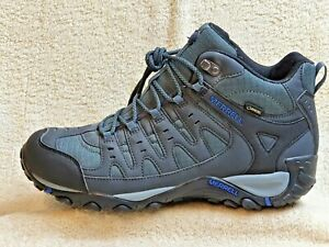 Merrell Gore-Tex men Comfort Boots NEW Grey/Black/Blue UK 11 EUR 46 US 11.5