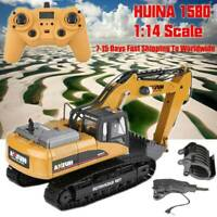 HUINA 1580 2.4G 1:14 23CH 3 in 1 RC Excavator Electric Vehicle Model Kids Gifts
