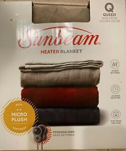 Sunbeam Heated Microplush Blanket with Dial Controller, Queen  Beige
