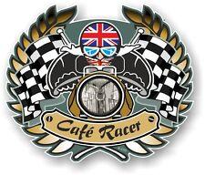 Golden Crest CAFE RACER & Union Jack Flag Bobber Ton Up car Bike helmet sticker