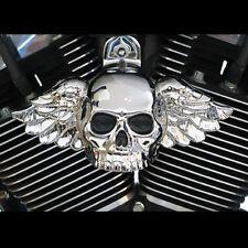 Winged skull horn cover in show chrome.  Harley Davidson. SKU-CWB-1