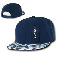 Solid Blue 2 Tone Zebra Animal Print Vintage Snapback Classic Flat Bill Hat Cap