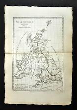 LA GRANDE-BRETAGNE ET SES ILES carte geographique ancienne, old antic map 1787