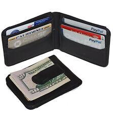 BLACK GENUINE LEATHER BIFOLD MONEY CLIP Credit Wallet ID Badge Holder Metal NR