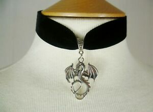 Black Velvet Dragon Choker Gothic Necklace, Pick your neck size