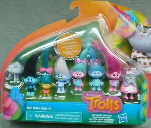 Trolls True Friends Collection Dreamworks Glimmering Hair Set 8 of Mini Figures