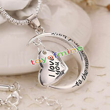 I Love You To The Moon & Back Heart Necklace Silver KR xmas Gifts For Wife /Mum