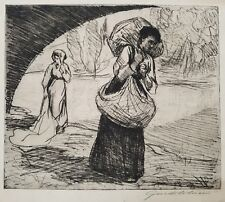 After Guido Colucci (Italy 1877-1949) Pencil signed Lithograph, Peasants