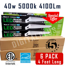 Maxlite 6 PACK 4FT LED SHOP LIGHT FLAT 5000K Daylight 40W Fixture Ceiling Light