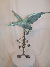 Xl Handcrafted 3Dimensional Flying Duck mallard Weathervane Copper Patina finish