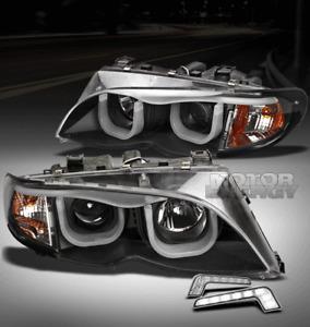 02-05 BMW E46 3-SERIES 325I 330I 4DR BLACK PROJECTOR HEAD LIGHT W/3D DRL LED KIT