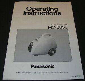 Vintage Panasonic Vacuum Cleaner MC-6050 Operating Instructions Manual
