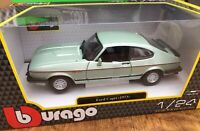 BURAGO 21093B FORD CAPRI Mk.III 2.8i diecast model road car green 1982 1:24th