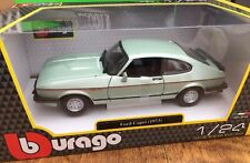 BURAGO 21093B FORD CAPRI Mk.III 2.8i diecast model road car green 1982 1:24th