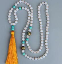 8mm Natural White Opal 108 Beads Mala Tassels Necklace Buddhism