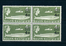 SOUTH GEORGIA 1977 DEFINITIVES SG59 4p on 4d BLOCK OF 4 MNH