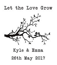 WEDDING STAMP, PERSONALISED WEDDING FAVOURS TAGS LET THE LOVE GROW