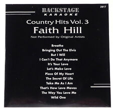 Backstage Karaoke COUNTRY HITS VOL. 3 FAITH HILL CDG 12 Song Disk CD #2917