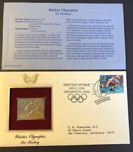 22kt Gold Stamp Winter Olympics ICE HOCKEY 1st Day Cover Proof USA 1/11/1992