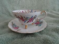Tea Cup & Saucer Three Footed pink/blue Flowers UCAGCO Japan (7)
