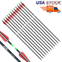 12pcs 30 inch Carbon Arrows 7.8mm w/Replaceable Tips for Recuve Compound Bow US