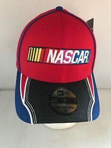 NASCAR CAP RED  BLUE AND BLACK EMBROIDERED FLEX FIT NEW ERA 39 THIRTY MEDIUM-LAR