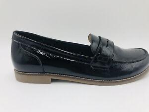 Ziera Sz 40 W Black Patent Leather Slip On Driving Brogues & Inserts VGC