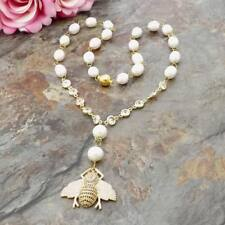 """22""""White Rice Pearl Necklace Cz Pave Bee Pendant"""