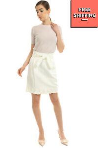 RRP €150 TARA JARMON A-Line Skirt Size 36 / XS Linen Blend Contrast Hem Belted
