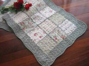 Pretty Country Flower Patch Ruffles Cotton Quilted Mat Rug Floor Runner Green L